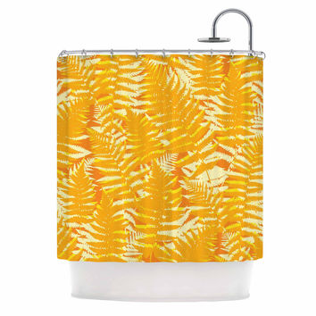 "Jacqueline Milton ""Fun Fern - Citrus"" Orange Gold Shower Curtain"