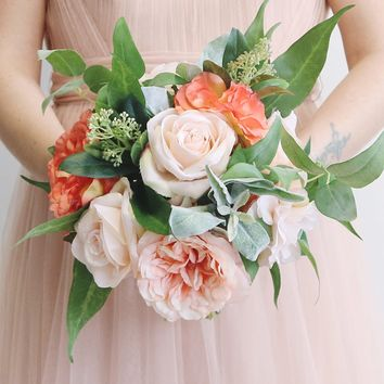 """Silk Rose Bouquet in Blush & Coral - 11"""" Tall"""