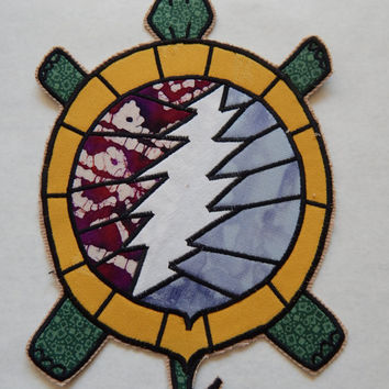Grateful Dead Patch, Steal Your Face Patch, Turtle Patch,  Handmade Sew On Patch, 9.5 Inch Sew On Patch, OOAK Patch, Hippie Clothes,