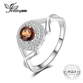 "JewelryPalace Fashion ""X"" marks 0.65ct Round Natural Smoky Quartz Anniversary Ring For Women Genuine 925 Sterling Silver Jewelry"