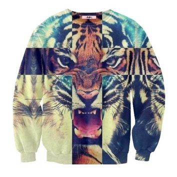 Snow Bengal Tiger Cross Face Graphic Print Unisex Pullover Sweatshirt