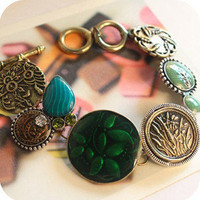 1pcs new arrival unique design Carved flowers&green circle Cute chain bracelet