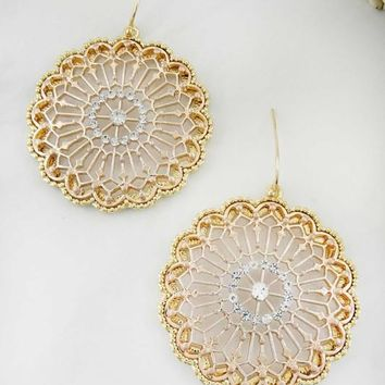 Women Fashion Jewelry Circle Rhinestone Glitter Filigree Dangle Earrings Boho