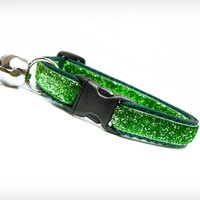 "Cat Collar - ""Bewitched"" - Emerald Green Sparkle"