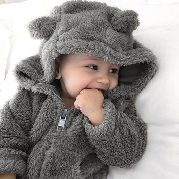 New Newborn baby clothes Toddler Baby Boys Girls Fur Hoodie Solid Winter Warm Coat Jacket Cute Thick Clothes soft home casaco