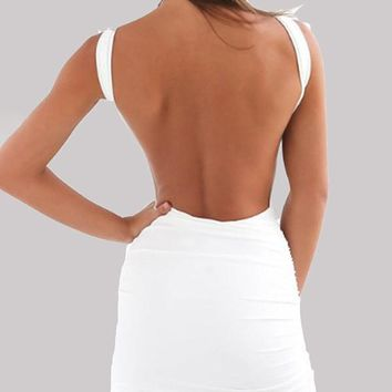 New White Backless Round Neck Bodycon Clubwear Fashion Cute Party Mini Dress