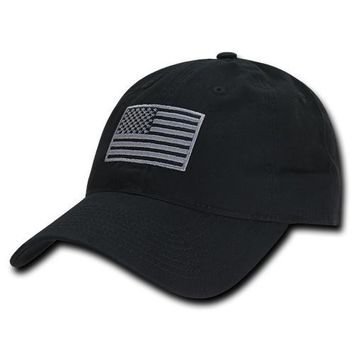 Polo Style USA Flag Hat Baseball Cap American Military Pride WRA 1005
