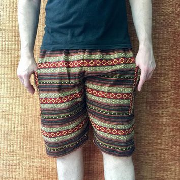 Tribal Woven Shorts Boho Aztec Hippie festival Clothing Burning man Beach Summer Gift Vegan Hipster Bohemian Gypsy Napali Fabric unisex men