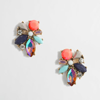 Mixed cluster gemstone earrings