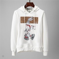 GUCCI 2018 autumn and winter new casual sports long-sleeved men's hooded sweater White