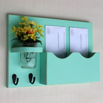 Legacy Studio Decor Double Slot Mail Organizer with Key Hooks & Mason Jar blue
