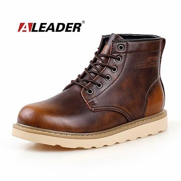 Waterproof Mens Boots Autumn Leather Shoes 2015 Casual Men's Martin Boots Fashion Ankle Western Boots Cowboy bota masculino