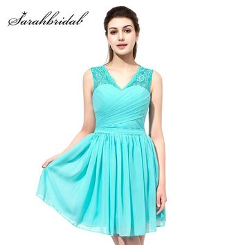 2018 Simple A Line Lace Prom Dresses Short Turquoise Chiffon Pleat V Neck Homecoming Party Dress Formal Gowns OS358
