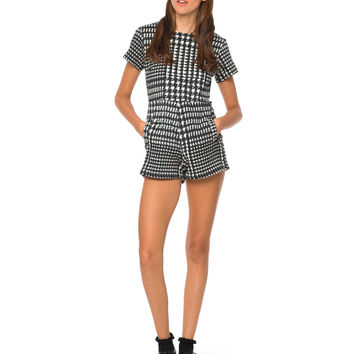 Motel Amy Backless Playsuit in Houndstooth Black and White