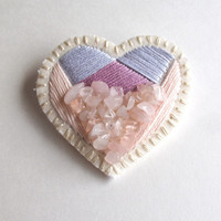Embroidered heart brooch with rose quartz embellishment pale pinks and lavender on cream muslin with cream felt back Valentines day jewelry