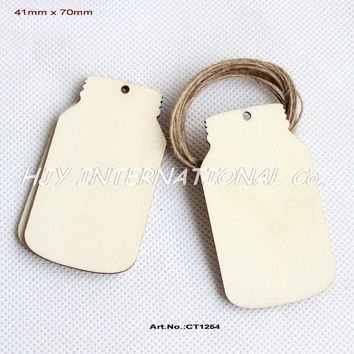 """50pcs 2.8"""" Unfinished Blank Wood Mason Jar Wedding Favor Gift Tag/Save the Date"""