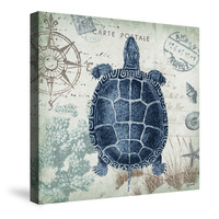 Seaside Postcard Turtle Canvas Wall Art