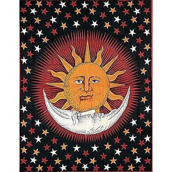 Handmade Cotton Celestial Sun Moon Star Tapestry Coverlet Twin Orange Red 70x104