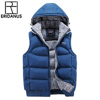 Mens Jacket Sleeveless Vests Winter New Fashion Casual Coats Hooded Cotton-Padded Men's Vest Men Thickening Waistcoat