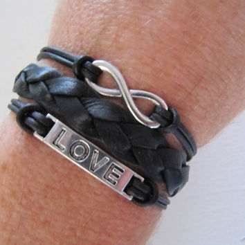 Black Silver Love and Infinity Heart Charm Wrap Bracelet - USA Seller