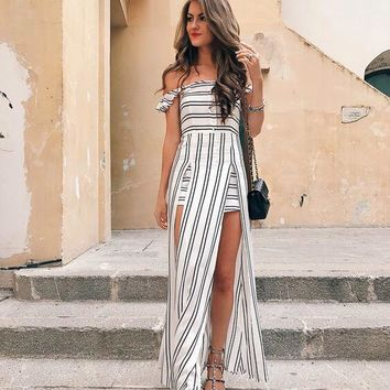 Strapless Off Shoulder High Slit Striped Dress