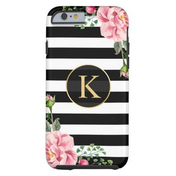 Vintage Floral Monogram Black White Striped Tough iPhone 6 Case