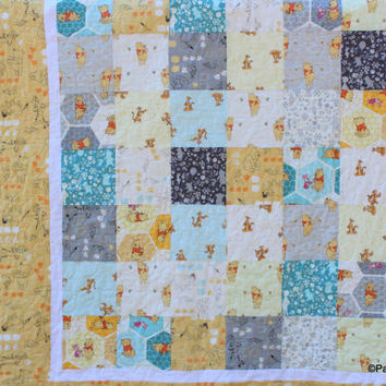 Baby Quilt, Yellow Grey Baby Blanket, Pooh Tigger Baby Quilt, Quilted Baby Blanket, Baby Crib Quilt