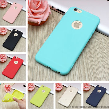 New Arrival Case For iPhone 7 Transparent Candy Colors Soft TPU Silicon Phone Cases For iPhone 6 6S 5 5S SE 7 Plus Coque Capa
