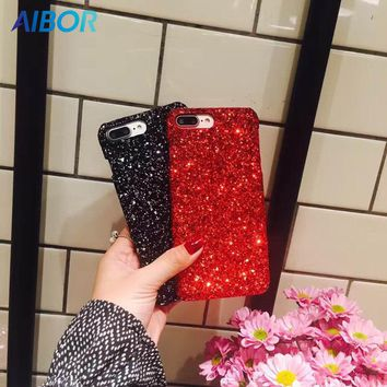 AIBOR Luxury Sexy Diamond Bling Glitter Bling Shining Flash Powder Sequins Sparkle Cover Case For iPhone X 8 7 6 6s Plus 5 5S SE
