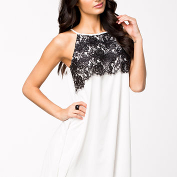 White Floral Lace Patch Casual Mini Dress
