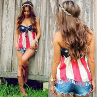 Strapless Sleeveless Flag Backless Short Tassel Patchwork Crop Tops+Swimming trunks
