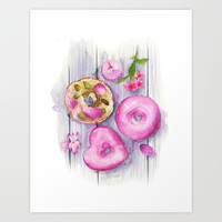 Doughnuts, Watercolor Illustration  Art Print by Koma Art