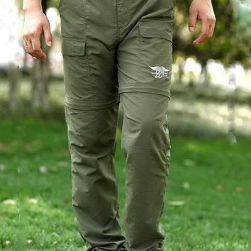 REEBOW TACTICAL Men Outdoor Hiking Quick Drying Detachable Cargo Pants Autumn Summer Anti-UV Thin Military Camping Trousers