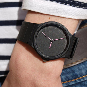 Custom Casio Pink Metallic Hands - unisex watch - men's watch - women watches - minimalist watch - black matte dial - casio watch - watches