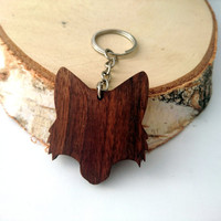 Wooden Fox Head Keychain, Walnut Wood, Animal Keychain, Environmental Friendly Green materials