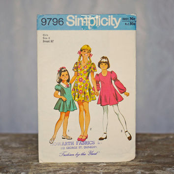 Vintage Girl's Sewing Pattern Princess Dress 1970's Simplicity 9796, Size 8 Girls Party Dress, princess line puff sleeves peter pan collar