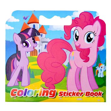 16 Pages Pony Coloring Sticker Book For Children Adult Relieve Stress Kill Time Graffiti Painting Drawing Art Book