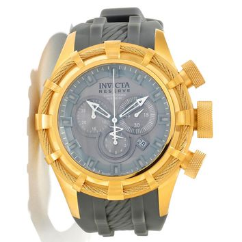 Invicta 11815 Men's Reserve Bolt Sport Grey Dial Grey Rubber Strap Gold Tone Stainless Steel Chronograph Dive Watch