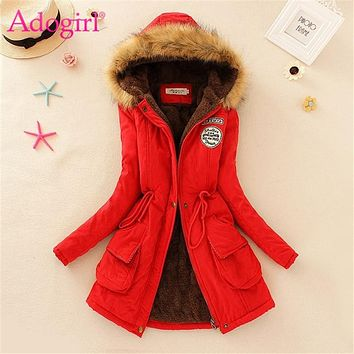 Adogirl Plus Size S-3XL Women Hooded Parkas with Faux Fur Warm Winter Wool Blends Jacket Cotton Coat Thick Casual Outerwear