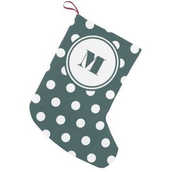 Personalized Monogram Slate Green White Polka Dots Small Christmas Stocking