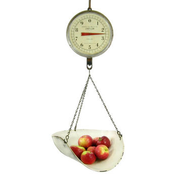 Vintage Hanging Produce Scale by Chatillon New York / Industrial Home Decor / Kitchen Scale / 20 lb hanging Scale / San Francisco