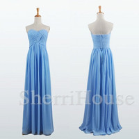 Ruffled Sweetheart Strapless A-Line Long Bridesmaid Celebrity dress ,Floor length Chiffon Evening Party Prom Dress Homecoming Dress