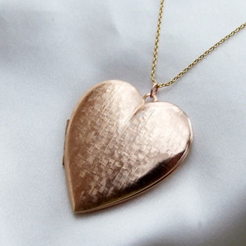Rose Gold Large Heart-Shape Vintage Locket, 18k Gold Vermeil Sterling Silver Chain, Bridal Anniversary Jewelry, Minimalist Necklace