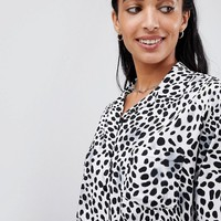 Motel Relaxed Hawaiian Shirt In Dalmatian Print at asos.com