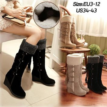 Fashion Scrub Plush Snow Boots Women Knee high Slip Resistant Boots Thermal Female Cotton Padded Shoes Warm Suede Fringe Wedge H