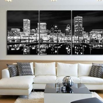 LARGE Wall Art Canvas Baltimore Night Skyline Black White - Harbour of Baltimore, Maryland Canvas Art Large Wall Art