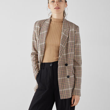 Check double-breasted blazer - Jackets - Bershka United States