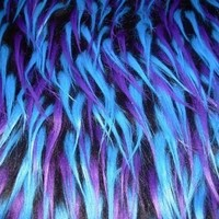 Multi Color Teal Purple and Black Faux Fur Craft Size