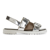 Silver Leather Monk Strap Sandals
