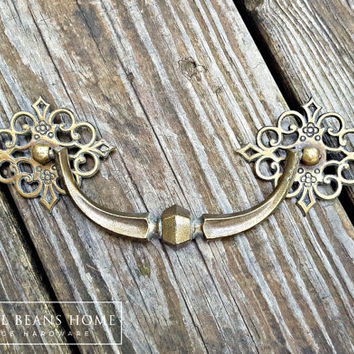 French Country Dresser Pulls Victorian Furniture Pulls KBC Drop Bail Pulls Antiqued Brass Drawer Pulls Antique Gold Drawer Pulls & Rosettes